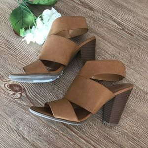 Shoes - Tan strappy sandals with heel